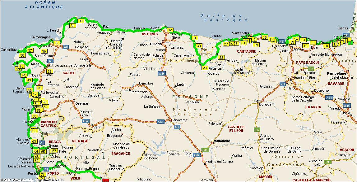 Carte Espagne Nord Est.Espagne Du Nord Par La Cote Atlantique